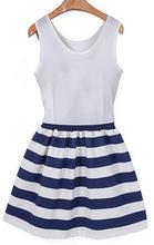 2015 new fashion women striped dress casual o-neck sleeveless blue stripe patchwork slim mini dresses plus size(China (Mainland))