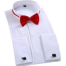 2016 Top Fashion Men Dress Shirt Luxury Brand Wedding Long Sleeve Formal Shirt Cotton Slim Fit Plus Size XXL Black Tuxedo Shirts(China (Mainland))
