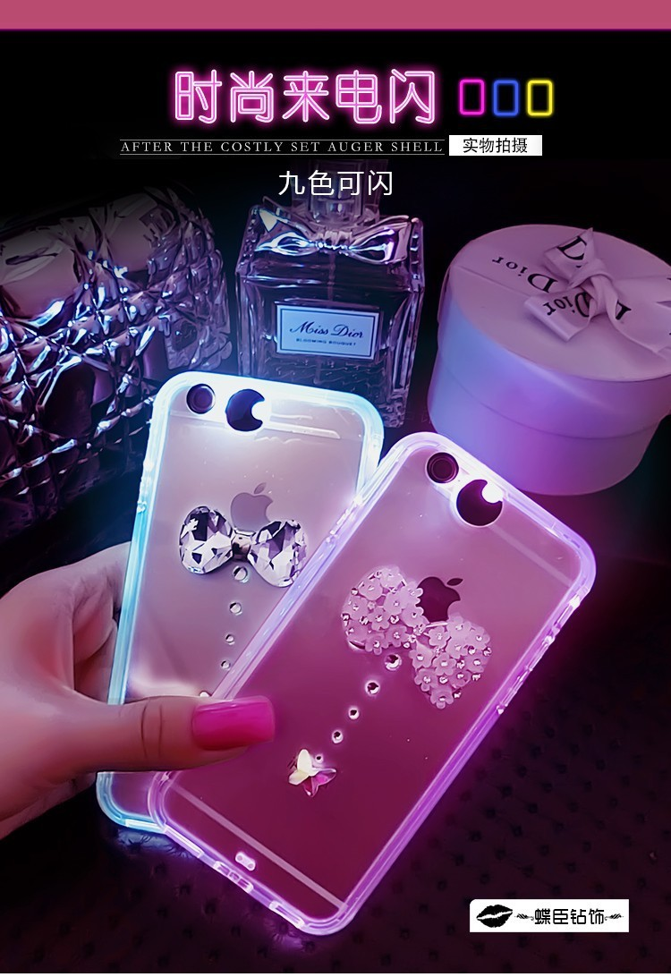 Rhinestone Crystal Soft TPU Luminous Case Fundas For iPhone5 5s 6 6s 6 plus diamond bling bow Called Sense Light LED Flash Cover