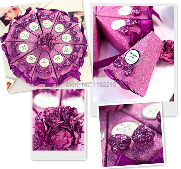 50 pcs Creative Luxury Romantic Purple Triangle Cake Candy Boxes with Bowknot Card Decoration Wedding Favor Gift Paper Box(China (Mainland))