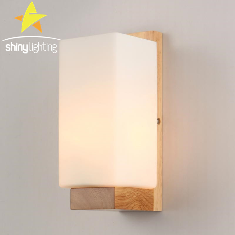 Wooden Wall Lamp Shades : Modern LED Wood Wall Lamp Milk White Glass Shade Sconce Bedroom Corridor Wall Mounted Lights 2 ...
