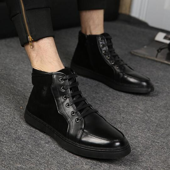 Фотография 016 Spring/Autumn High Top Male Fashion Trend Shoes Causal Shoes Suede Leather shoes Lace Up Breathable Low Shoes