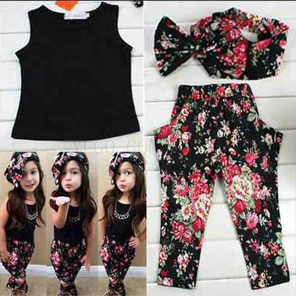 Fashion floral casual suit children clothing set sleeveless outfit headband flower summer new kids girls clothes 01