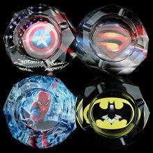 Hollywood Movies Super Hero Superman Spiderman Batman Captain America Creative Gift For Movie Fans Bedroom Crystal Mini Ashtray(China (Mainland))