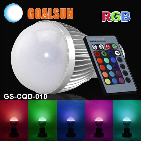 GS-CQD-010 Aluminum 230V 240V 110V 220V E27 5W RGB led bulb lamp Color change 5 watt Led lights for home decotation(China (Mainland))