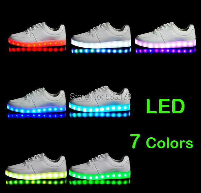 7 Colors LED luminous shoes unisex sneakers men & women sneakers USB charging light shoes colorful glowing leisure flat shoes(China (Mainland))