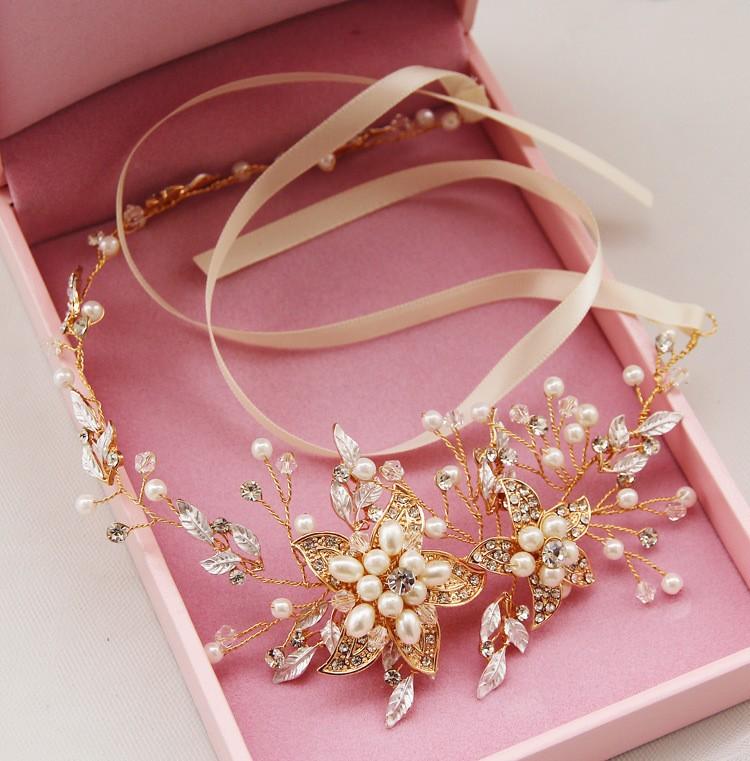 Роскошный лента горный хрусталь кристалл Pealrs цветок свадьба повязка на голову волос вайн свадебные аксессуары для волос