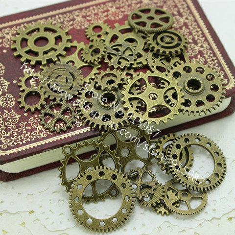 Wholesale Mix 100 pcs Vintage Charms Gear Pendant Antique bronze Fit Bracelets Necklace DIY Metal Jewelry Making D0055(China (Mainland))