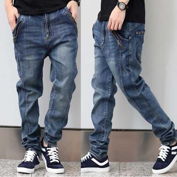 2016 мужская одежда эластичного денима бегунов джинсы хлопок мешковатые джинсы мода ...