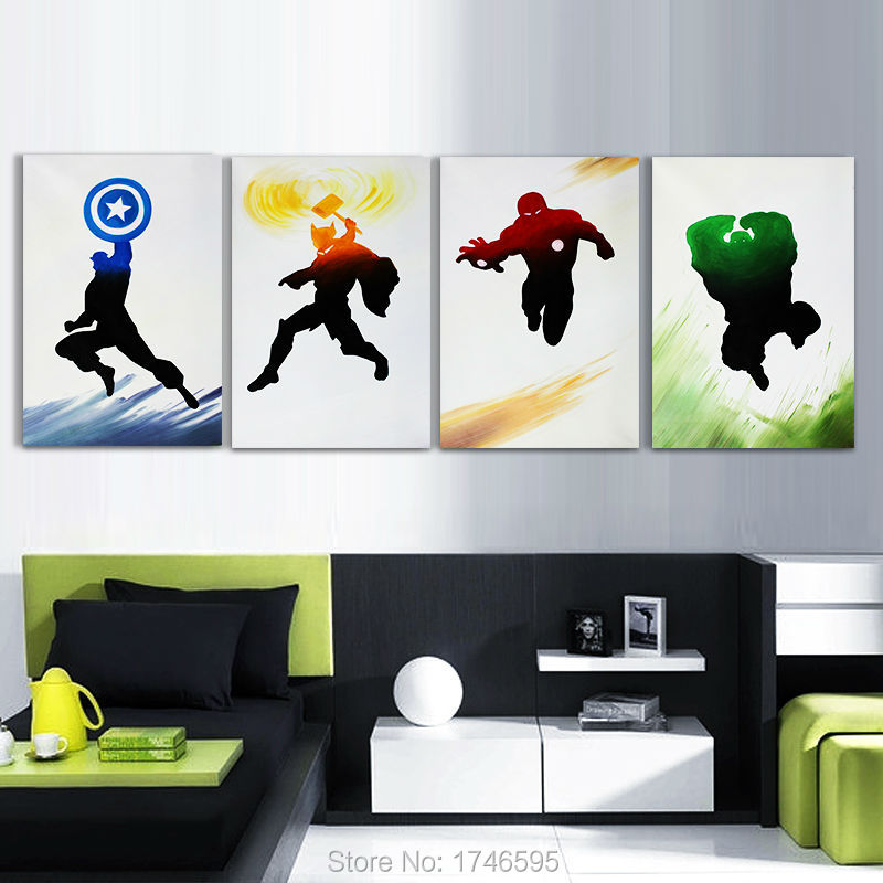 Wholesale 4Pcs The Avengers Print movie poster Painting on Canvas wall art home decor picture for living room kids wall decor(China (Mainland))