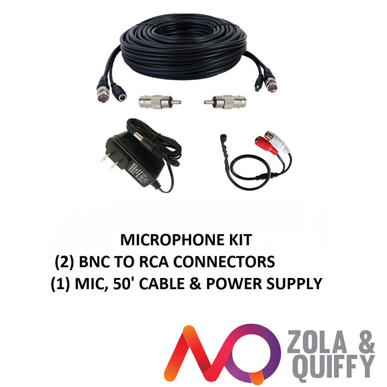 CCTV High Sensitive Microphone Security Camera RCA Audio Mic DC Power & Cable(China (Mainland))