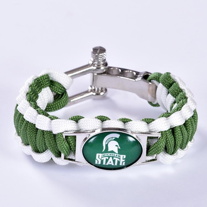 Michigan State Spartans Custom Paracord Bracelet NCAA College Football Charm Bracelet Survival Bracelet,Drop Shipping! 6Pcs/lot!(China (Mainland))