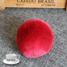 20 cores bola de pele real 6cm pompom chaveiro carro pompom bola de pele de coelho chaveiro de pele diy saco encantos com fofo coelho ponpon(China)