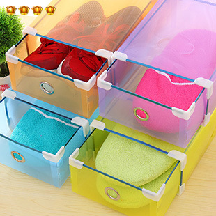 Multicolour thickening transparent clamshell shoebox plastic shoes long boots storage box finishing(China (Mainland))