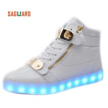 SAGUARO Men Women Fashion Luminous Shoes Metal High Top LED Lights USB Charging Colorful Shoes Lovers Casual Flash Shoes(China (Mainland))