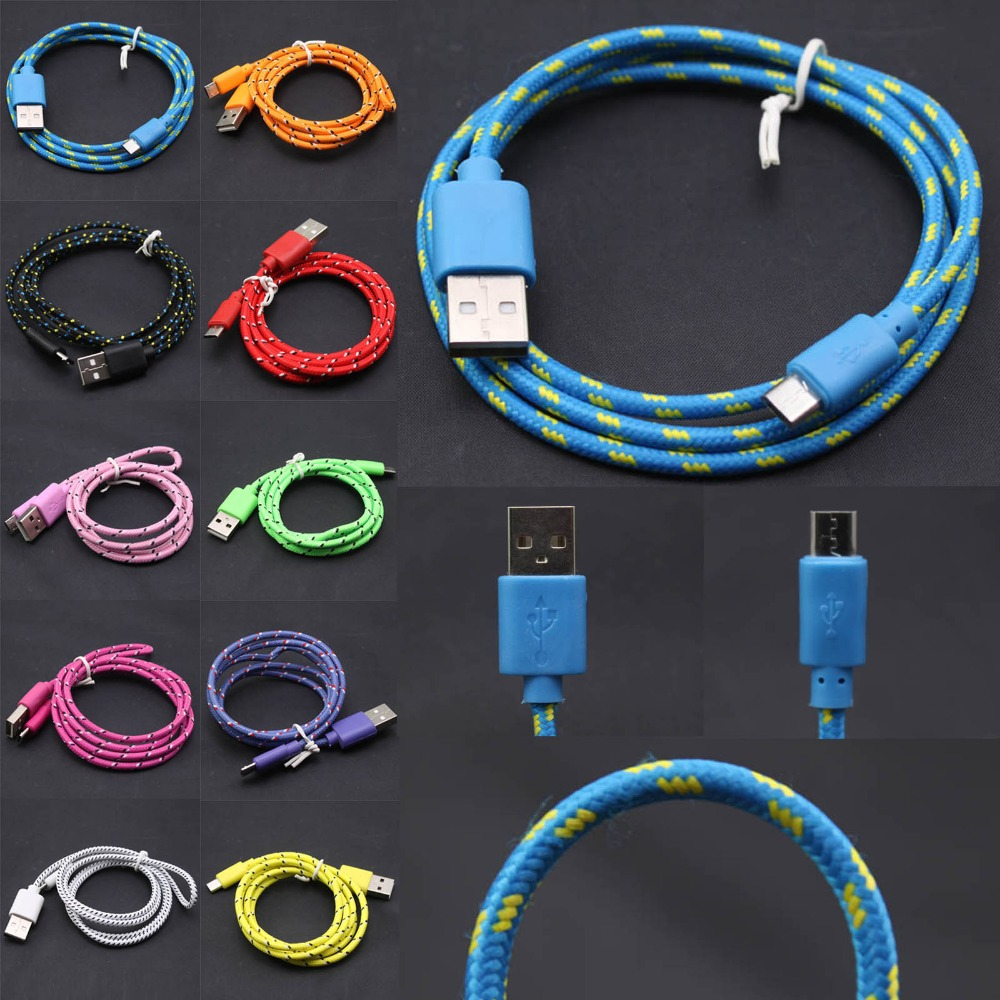 2M/6FT Strong Fabric Braided Micro USB Cable Sync Nylon Charger Samsung Galaxy S3 i9300 S4 i9500 S5 i9600 Note 2 3 4 - Vale Internet Co.,Ltd. store