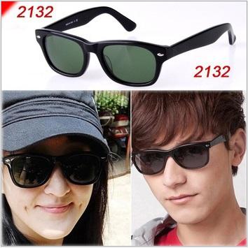 Top quality Retro RB2132 New Wayfarer Unisex Sunglasses Glasses RB 2132 901 902 Black 52 55 G15 Lens UV400 Brown case(China (Mainland))