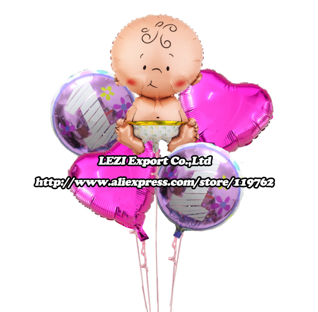 New arrival 5 pcs/lots Girl Baby 1 year Happy birthday decoration Combination suit cartoon party rose foil balloon Hot sale(China (Mainland))
