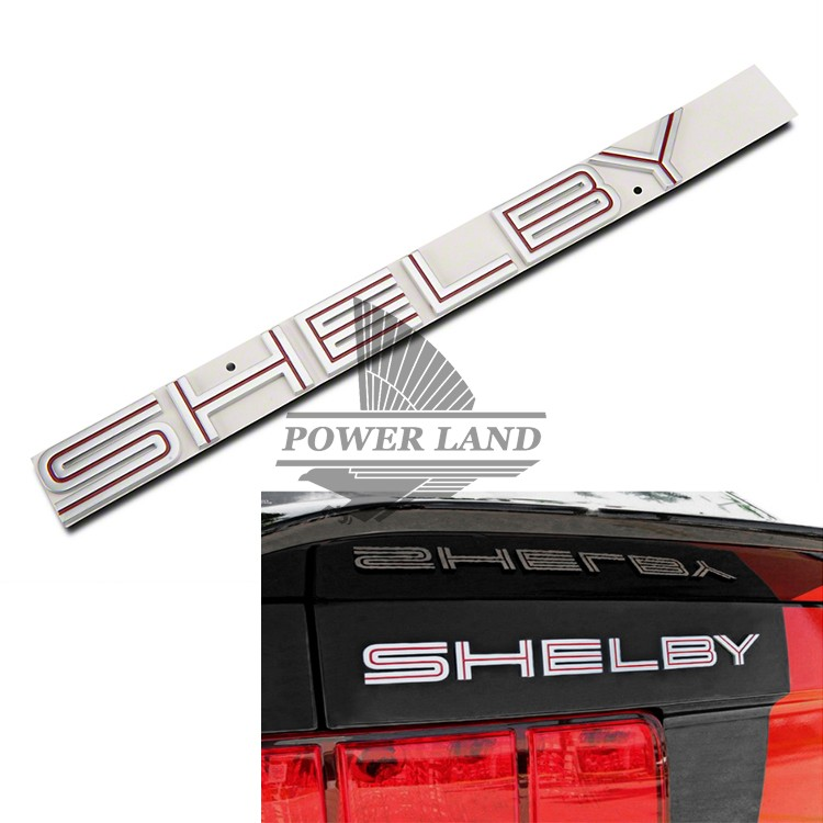 Red Inset Silver ABS Ford Shelby Lettering Decklid Stickers 3D Badge Emblem Decal Sticker Fits for Ford Mustang Cobra GT(China (Mainland))