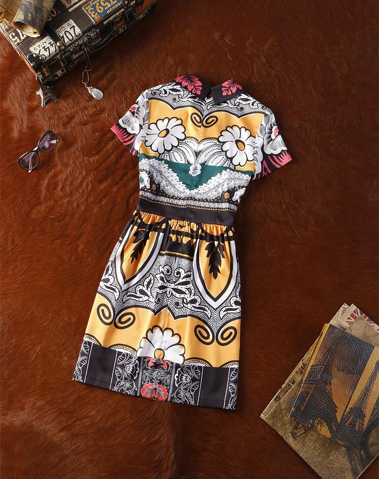 D551 High Quality 2015 New Summer European Catwalk Retro Vintage Short Print Dress Silk Runway Short