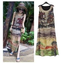Women Sleeveless Silk Chiffon Long Maxi Dress Summer Beach Sundress S-XXXL(China (Mainland))