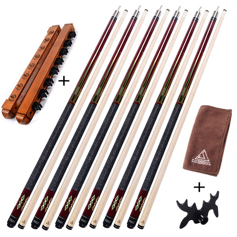 CUESOUL G207X6 6 Pieces Pool Cue With Cue Bridge Head and Cue Towel,8 Cue Stick Pool Table Billiard Wall Rack For House Bar(China (Mainland))