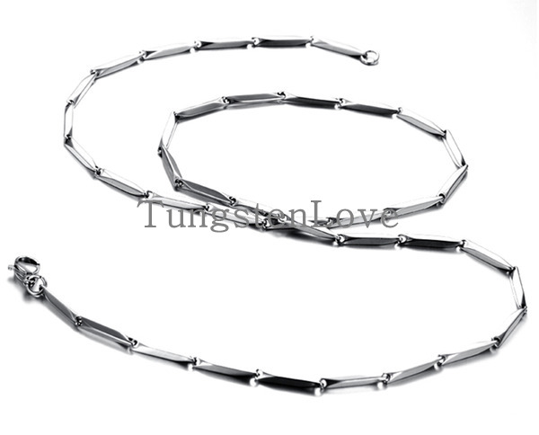 55cm*4mm Polished Stainless Steel Bamboo Silver Link Chain Men Necklace 22 Inch, Silver Color (with Gift Bag) colgantes hombre(China (Mainland))