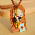 Handmade leather Alice in Wonderland rabbit cards long necklaces pendants for women 2015 anime jewelry accessories