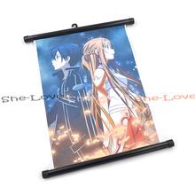 Плакат с персонажами Кирито и Асуна — Мастера меча онлайн (картина на холсте)