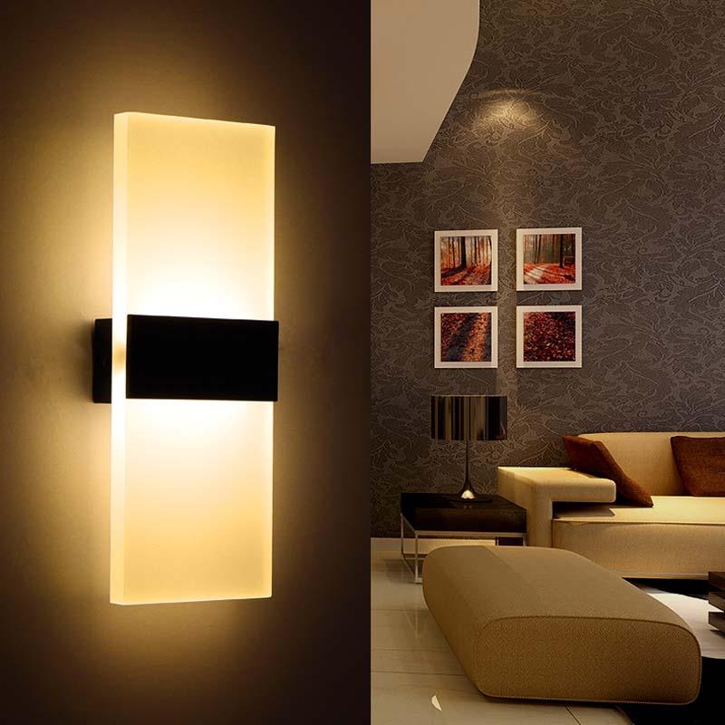 6w led wall lamp bedroom bedside living room hallway. Black Bedroom Furniture Sets. Home Design Ideas