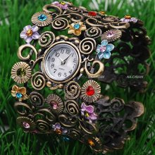 2016 Hot Sale Luxury Vintage Bronze bangle watch women ladies Fashion dress quartz wrist watch 4555