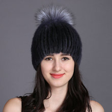 2015 New Style Real Knitted Mink Fur Hat Fashion Natural Mink Fur Thick Beanie Women Winter Warm  Real Fur Cap