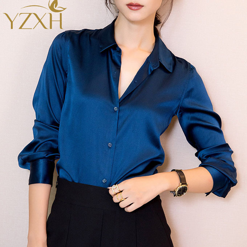 S-XXXL Fashion women Dark blue satin silk blouse ladies casual long sleeve button Turndown Collar real silk satin blouses shirts(China (Mainland))