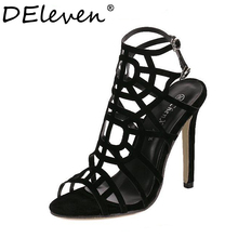 Fashion Star Supermode Sexy Stiletto Gladiator Cut-outs High Heels Sandals Women's Slimmer Heel Party Shoes Solid Black US8.5