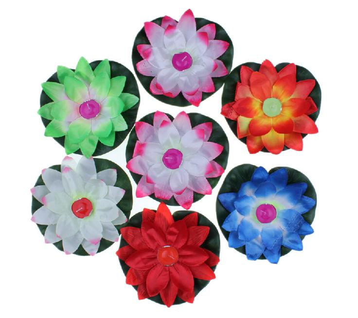 Flower Lotus Latern Light Chinese Festival Sky Latern Lamp Wishing Floating Water Paper Latern With Candle 10 Pcs RDM Color(China (Mainland))