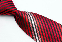 ST001 Red Black Stripes Fashion Smooth Woven Silk Polyester Mans Tie Classic Business Wedding Party Tie