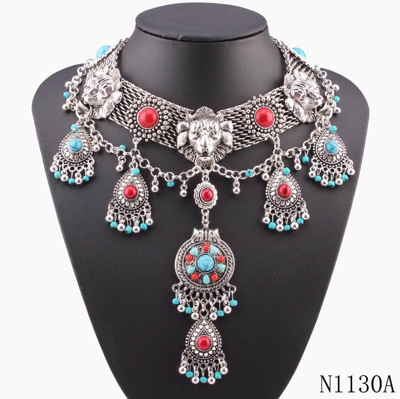 2016 new vintage ethnic statement bead necklace pendant choker women animal lion necklace women jewelry wholesale(China (Mainland))