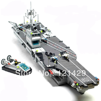 Without box aircraft carrier Enlighten 113 building 990pcs blocks 3D DIY assembling educational toy Birthday gift Free Shipping