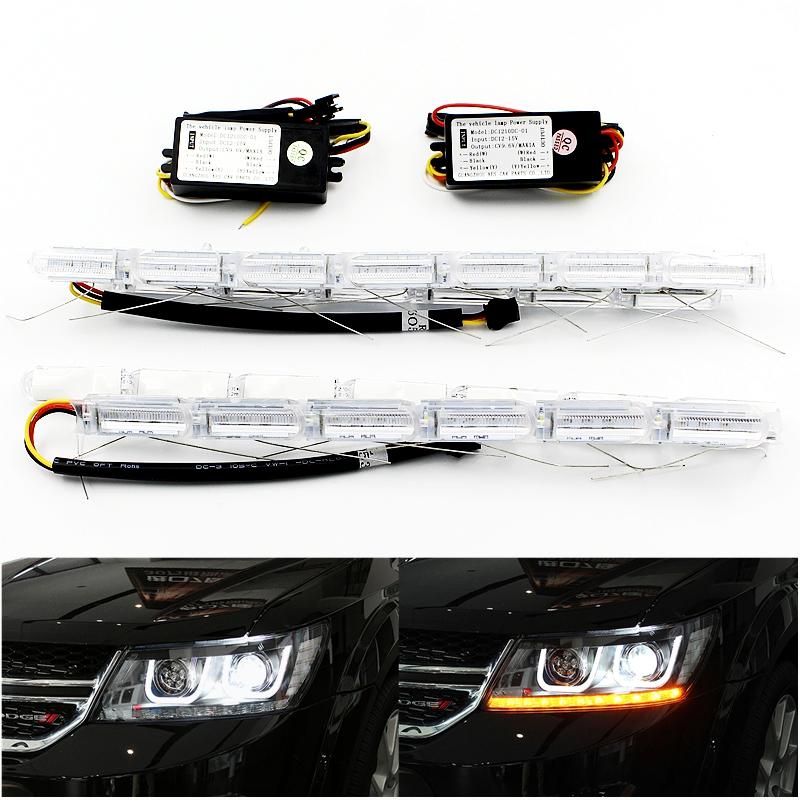 2X Flexible Crytal Flow Meteor Bar Lamp Telescopic Eyes Steering LED Car DRL Daytime Running Light Headlight Turn Signal Styling(China (Mainland))