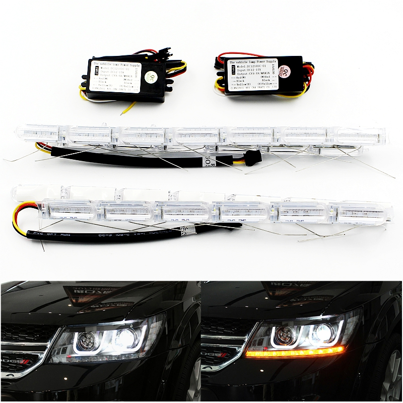 Flexible Crystal Flow Meteor Bar Lamp Telescopic Eyes Steering LED Car DRL Daytime Running Light Headlight Turn Signal Styling(China (Mainland))