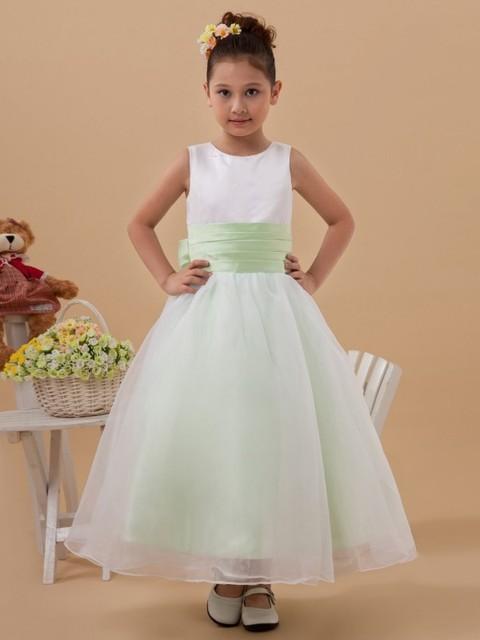 Прекрасные дети вечерние платья цветок девочки кекс конкурс платья мята зеленый завязки ...