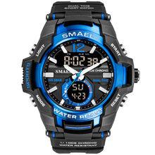 Smael relógio do esporte dos homens relógios à prova d50 água 50 m relógio de pulso relogio masculino grande dial quartzo digital militar do exército relógio 1805(China)