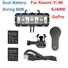 La Batería de doble flash LED de vídeo luz fotográfica Gopro Hero 4 3 + impermeable sj4000 buceo llenar lámpara de noche para xiaomi yi 4 k SJ5000