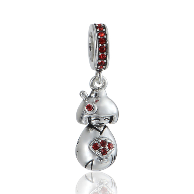 925 - серебристо-ювелирные бусины S351 Kimomo девушка с вентилятором CZ бусины Fit Chamilia пандора браслет серебро 925 ювелирных изделий DIY