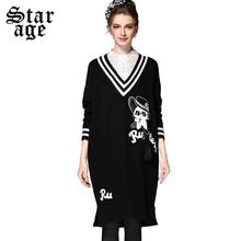 S~3XL Big Size Women Pullover Sweater Ladies Contrast Embroidery Striped Knitted Sweater Long Sleeve Casual Knit Dress Q031(China (Mainland))