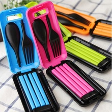 Free Shipping !!! Portable Tableware Sets Folding Spoon Fork Chopsticks Outdoor Travel Lunch Box Tableware(China (Mainland))