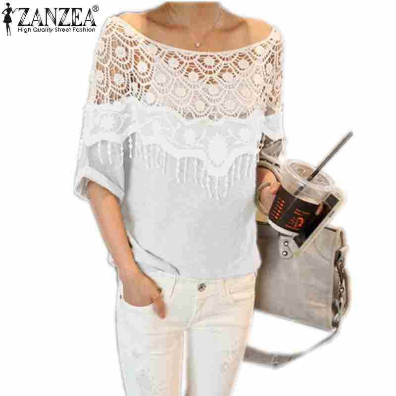 Plus Size S-5XL 2015 New Blusas Femininas Casual Summer Tops Women Hollow Crochet Shawl Collar Lace Top Blouse Shirt Clothing(China (Mainland))