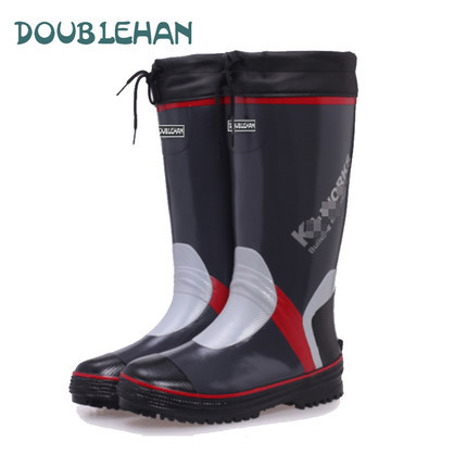 fashion men over-the-knee warm fur water shoes for men fishing shoes waterproof rubber overshoes plush rain boots <br><br>Aliexpress