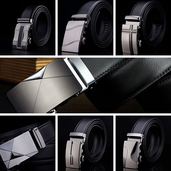 2015 Brand New Cowskin Men Luxury Belt Automatic Metal Buckle Genuine Cow Leather Belt Business Cowhide Waist Strap 7 styles(China (Mainland))