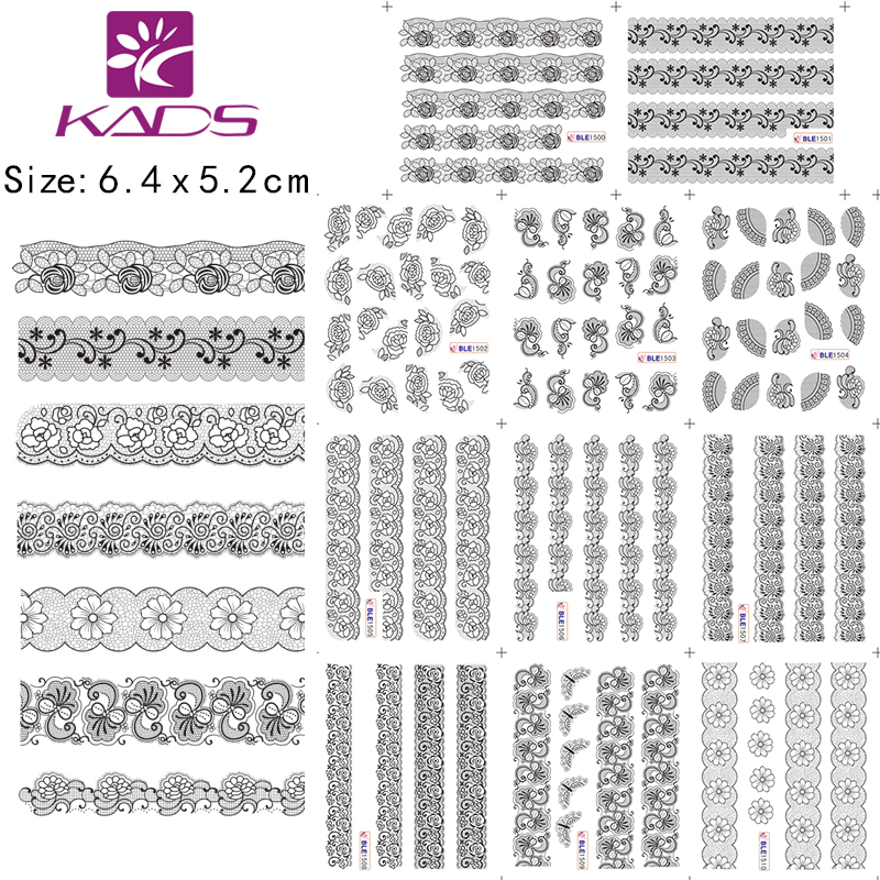 BLE1500-1510 Black Lace Flower Nail Art Stickers Minx Nail Foil Stickers Lace Nail Stickers Nail Art Water Decals(China (Mainland))